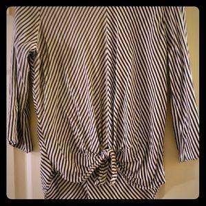 Zara blue & white stripe tie front blouse